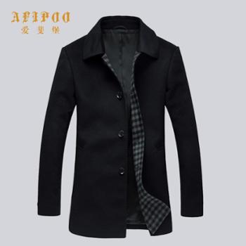 爱斐堡冬装新款男士商务休闲翻领全羊毛大衣外套263333091
