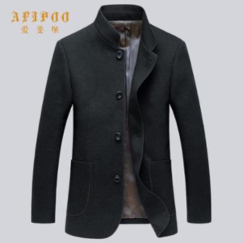 爱斐堡新款男士立领简约型羊毛大衣263332051