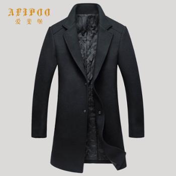 爱斐堡秋冬新款男士黑色翻领大衣273332008