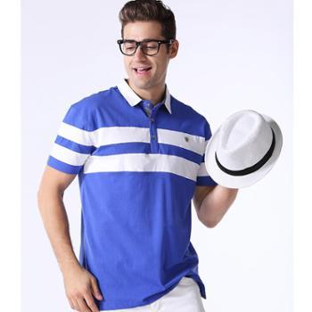 新洁霓男士休闲POLO衫英伦风格条纹T恤