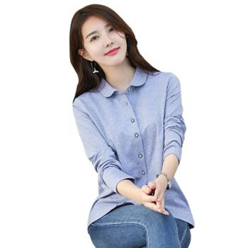 KEQI春装衬衣单排扣翻领开衫棉质上衣2140-1