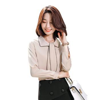 馨霓雅女款娃娃领雪纺领带职业衬衫FH2019
