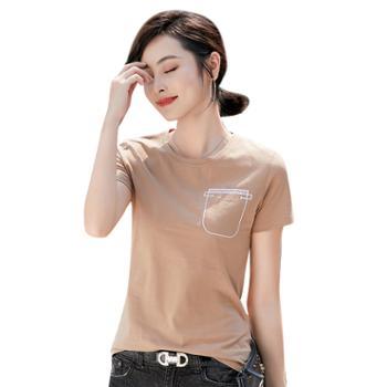 可祺纯色简约刺绣口袋T恤6725