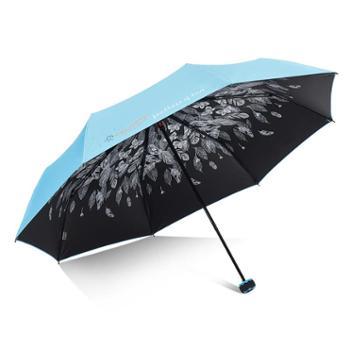 雨伞33451E女韩小清新晴雨两用伞太阳伞防晒紫外线遮阳三折叠雨伞黑胶