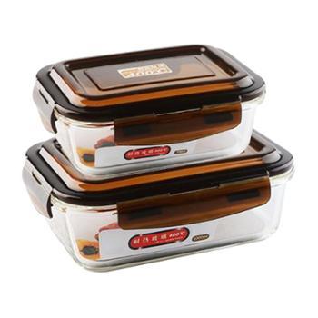 克芮思托长方形高硼硅耐热玻璃保鲜盒大小两件套 玻璃保鲜碗饭盒便当盒储藏盒