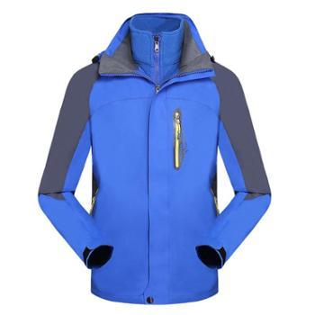 雷宾迪户外情侣款冲锋衣男女防风透气保暖三合一可脱卸两件套登山服