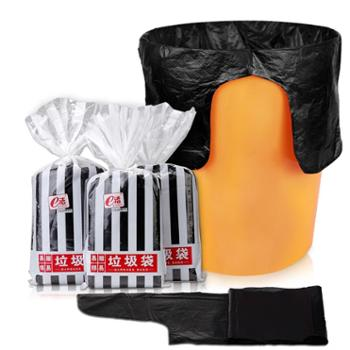 e洁 卫生间设计黑色垃圾袋 3卷 居家办公加厚清洁袋