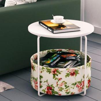 潮土 圆形两层碎花款创意现代角几 边几 客厅电话几 移动沙发小茶几