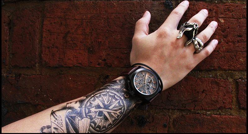 阿帕琦手表男士机械表透底时尚运动手表三十米防水 全自动机械男表