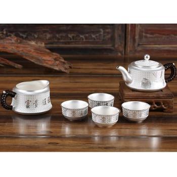 福恒金 祥和富贵银壶 纯银泡茶壶雪花银功夫茶具套装纯手工银茶壶1把端把壶4个品茗杯