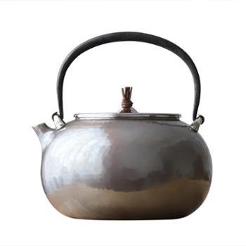 鹤川造物 银壶纯银烧水壶纯手工袋形银壶