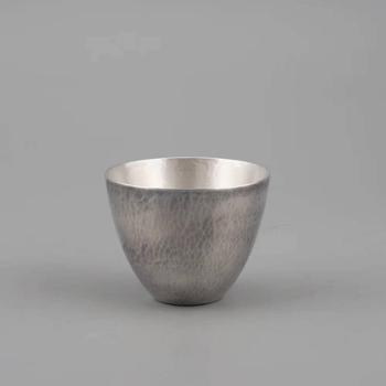 鹤川造物 锤纹蛋形小号银酒杯 纯银杯茶杯