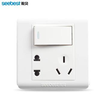 视贝86型墙壁开关插座面板 一开单控带五孔插座二三插电源5孔插座