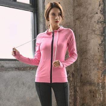 韩版春秋冬瑜伽服 透气速干连帽运动外套背心长裤 运动健身服外套