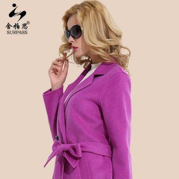 舍帕思2016新款双面呢大衣加厚宽松纯手工女士长款毛呢外套高端羊毛大衣
