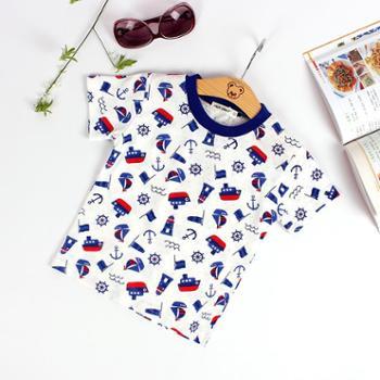 儿童满印短袖T恤夏童装2017新款夏装宝宝网眼纯棉打底衫卡通上衣