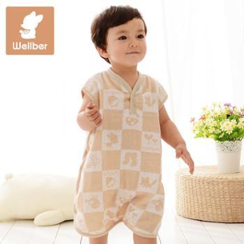 威尔贝鲁纯棉宝宝婴儿纱布背心分腿睡袋夏季薄款新生儿童防踢被