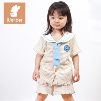威尔贝鲁儿童夏季休闲卡通短袖外出衣服彩天蚕丝海军领开衫条纹T恤