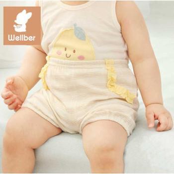 威尔贝鲁纯棉宝宝短裤夏季款男女儿童休闲短裤婴儿可开档小短裤