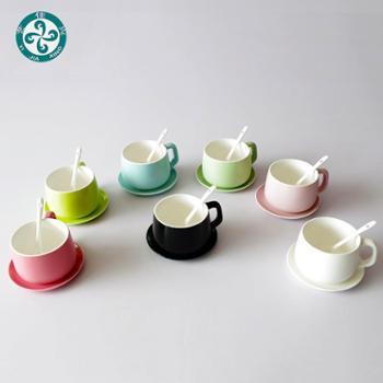 大容量陶瓷咖啡杯水杯带勺碟子 艺佳兴陶瓷
