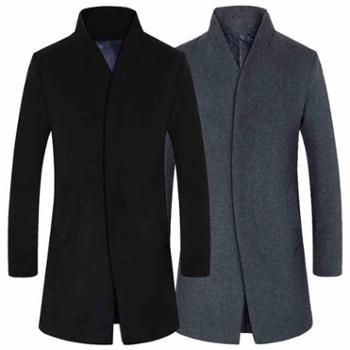 立领毛呢大衣羊毛呢大衣中长款毛呢外套男士秋冬季青年个性休闲