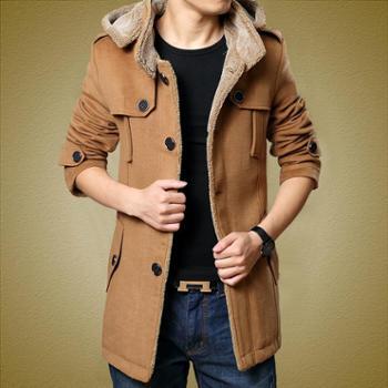 风衣男韩版修身型加厚毛呢大衣外套秋冬季男装呢子大衣男士中长款