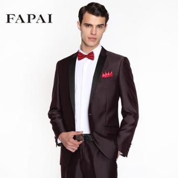 【法派魔法定制】 男士定制西服 酒红色套装西服