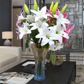 假花百合仿真花束单支客厅室内茶几装饰品摆设花艺摆件花瓶插花