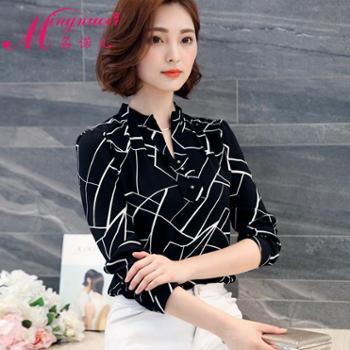 2017春装新款韩版印花衬衫女长袖短袖雪纺衫夏短款衬衣百搭上衣