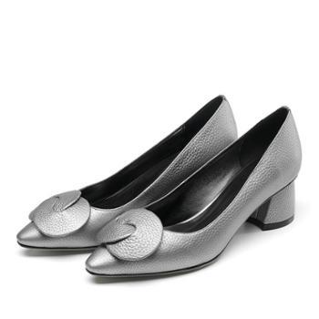 浓情漫宇单鞋欧美粗跟牛皮浅口女鞋尖头中跟鞋G028