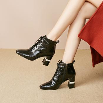 2019秋冬新款短靴方头粗跟漆皮高跟显脚小真皮马丁靴英伦风靴子女J286
