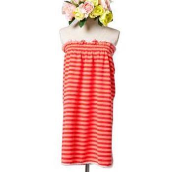 洁丽雅浴袍 超细纤维吸水浴裙 可爱抹胸夏季蕾丝浴围女 单条