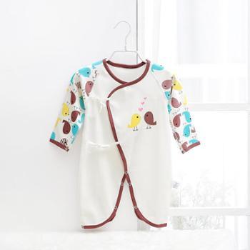 齐齐熊春秋新款初生婴儿衣服宝宝连身衣纯棉蝴蝶衣卡通小鸟连体衣