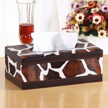 雅皮仕 美式皮革纸巾盒抽纸盒 家用餐巾纸盒纸抽盒客厅车用创意