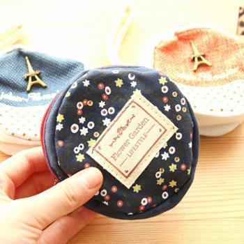 尚派~棉麻复古圆形零钱包 手拎包 韩国可爱钥匙零钱包学生文具 五个装