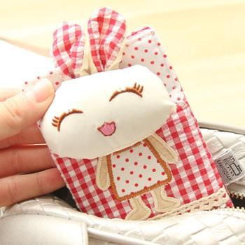 尚派~新款布艺短款兔子卡包 卡通可爱时尚多用包 卡包 混款 三个装