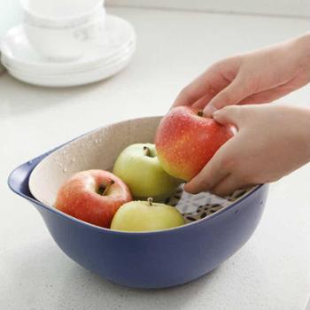 小麦秸秆双层沥水篮2件套厨房洗菜篮子水果篮沥水洗菜篮淘菜盆塑料厨房用具