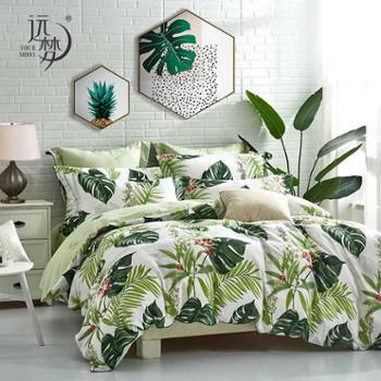 远梦四件套天竺纯棉水洗套件全棉4件套单双人1.5m1.8米床单被套床上用品