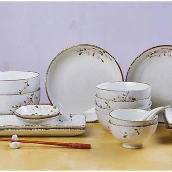 印象樱花系列日式高温手绘陶瓷餐具碗/盘/杯/碟/勺套装