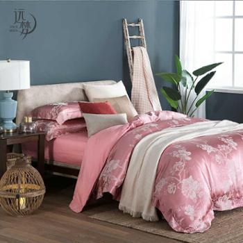 远梦四件套提花床单纯棉套件1.5m1.8m床婚庆粉红床品全棉床单床上用品四件套