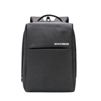SWIMADE瑞制RZ-9121蓝色双肩背包男商务笔记本电脑包15英寸大容量防泼水双肩包欧美时尚休闲书包