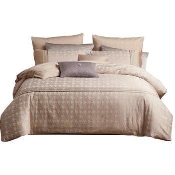 lovo家纺全棉纯棉床上用品简约提花绣花被套床单四件套1.5/1.8米 格伦