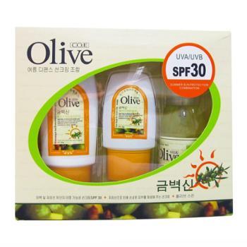 韩伊Olive橄榄防晒霜套装SPF30净白防晒霜冰露+清爽晒后修护冰晶+保湿水