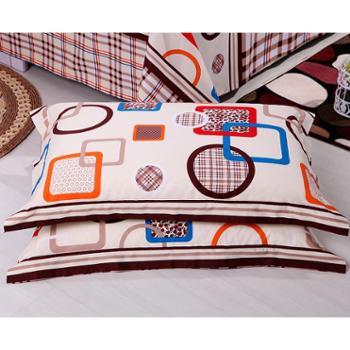 锦华家纺 纯棉枕套一对装 全棉平纹印花枕套 单人双人学生枕头套