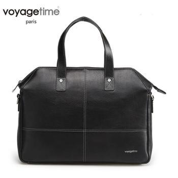 voyagetime英伦系列黑色牛皮男士手提包VM4005-001