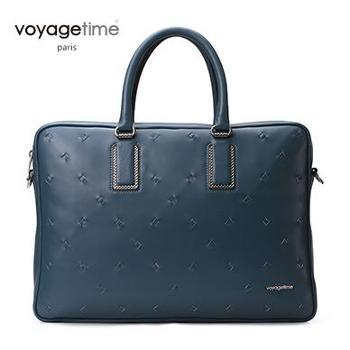 voyagetime/微缇深湖蓝头层牛皮男士公文包VM4016-306