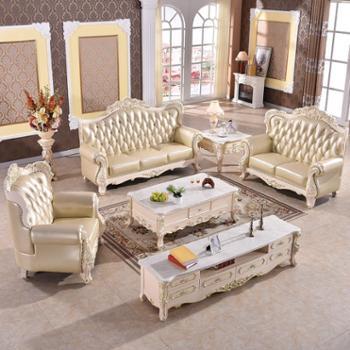 欧式沙发组合 真皮沙发头层牛皮大小户型客厅实木皮艺沙发 SF2109