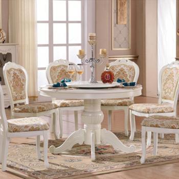 欧式圆形餐桌椅组合带转盘饭桌美式实木圆餐台酒店复古大圆桌