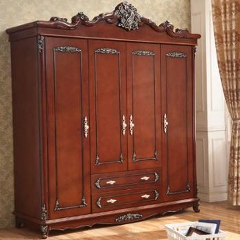 别墅家具欧式实木衣柜四门衣柜衣橱美式储物收纳柜
