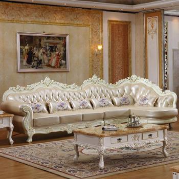 欧式真皮转角沙发组合 法式实木雕花客厅进口头层牛皮艺沙发